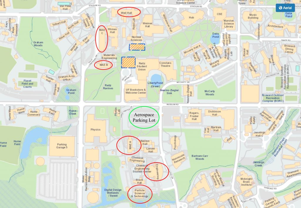 Important buildings marked on the UF campus map.
