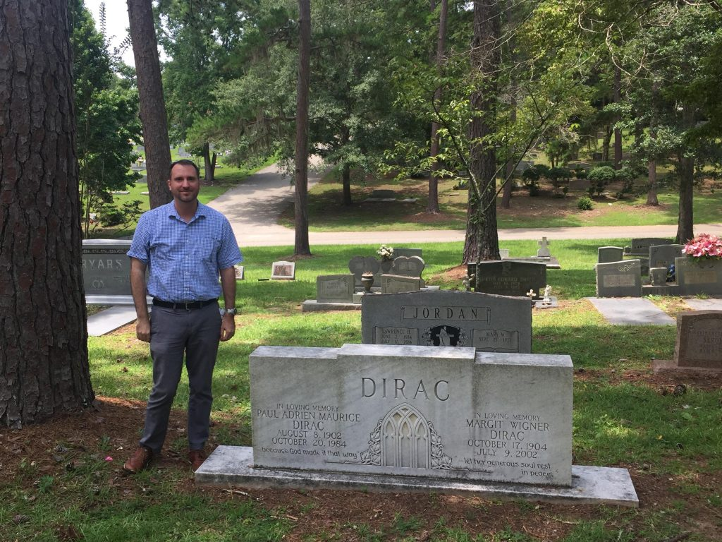 Prof. Miller by the resting site of Prof. P. A. M. Dirac.